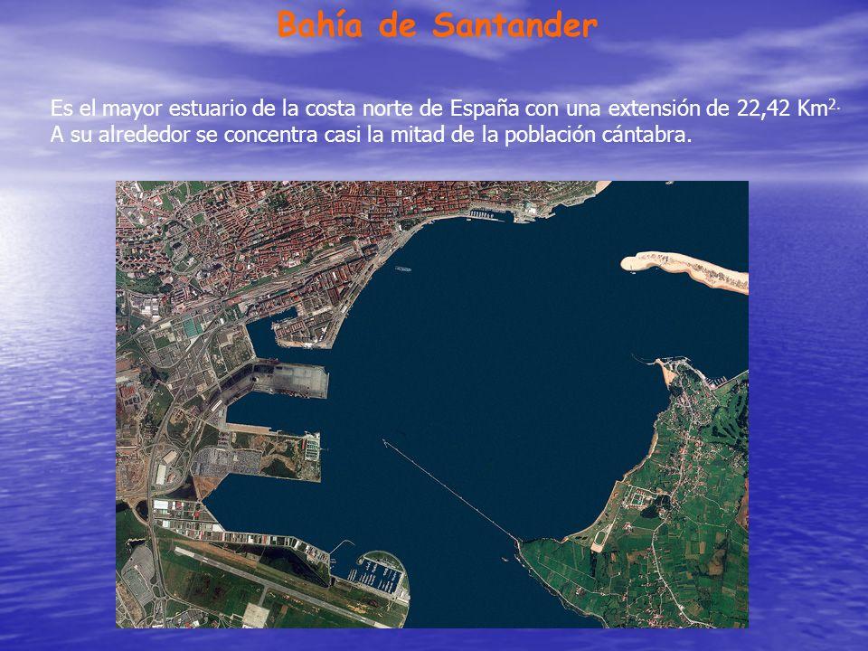 Bahía de Santander Es el mayor estuario de la costa norte de España con una extensión de 22,42 Km 2. A su alrededor se concentra casi la mitad de la p