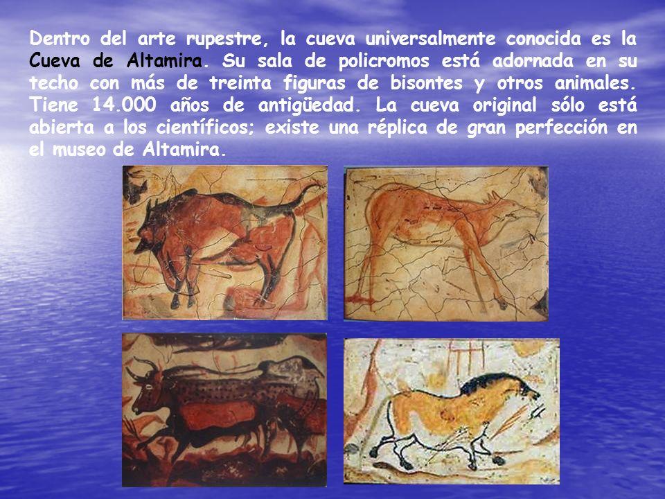 Dentro del arte rupestre, la cueva universalmente conocida es la Cueva de Altamira. Su sala de policromos está adornada en su techo con más de treinta