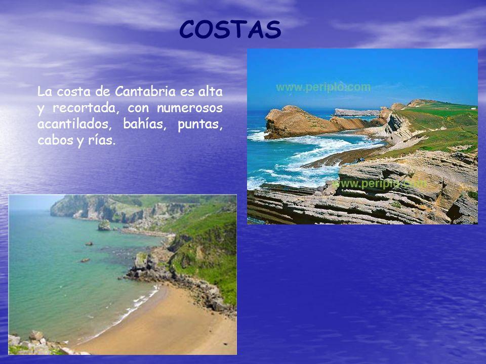 COSTAS La costa de Cantabria es alta y recortada, con numerosos acantilados, bahías, puntas, cabos y rías.