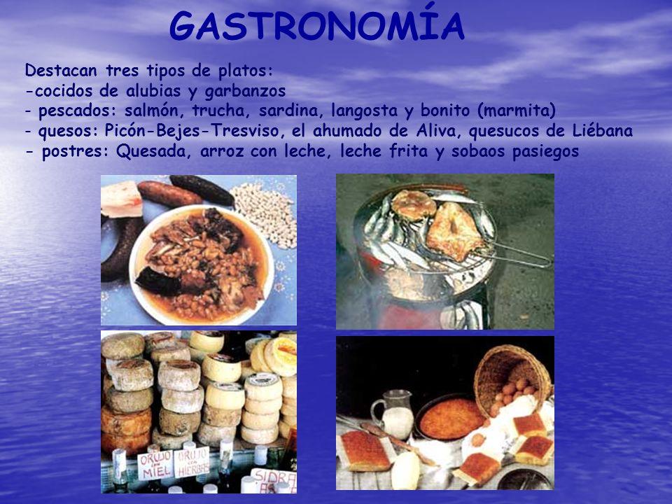 GASTRONOMÍA Destacan tres tipos de platos: -cocidos de alubias y garbanzos - pescados: salmón, trucha, sardina, langosta y bonito (marmita) - quesos: