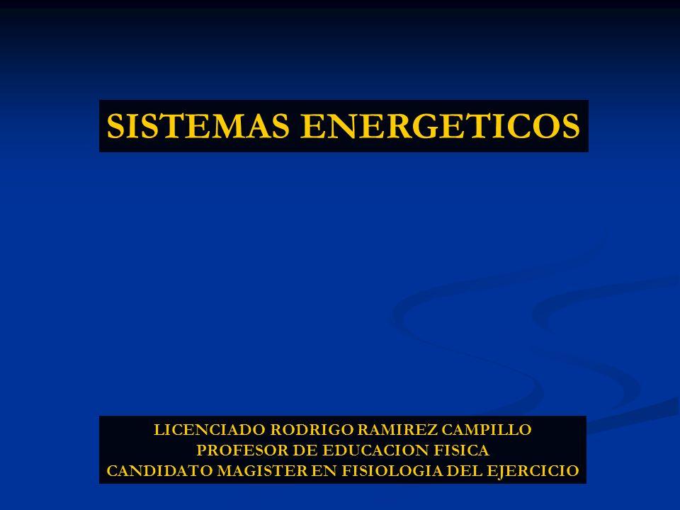 SISTEMAS ENERGETICOS LICENCIADO RODRIGO RAMIREZ CAMPILLO PROFESOR DE EDUCACION FISICA CANDIDATO MAGISTER EN FISIOLOGIA DEL EJERCICIO