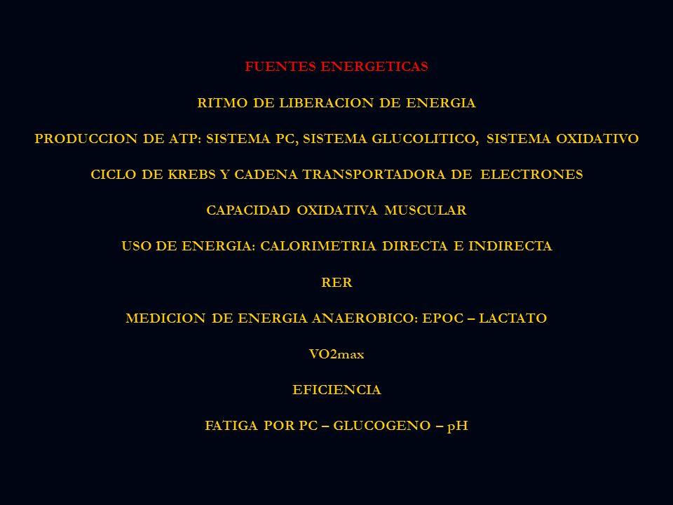 FUENTES ENERGETICAS RITMO DE LIBERACION DE ENERGIA PRODUCCION DE ATP: SISTEMA PC, SISTEMA GLUCOLITICO, SISTEMA OXIDATIVO CICLO DE KREBS Y CADENA TRANSPORTADORA DE ELECTRONES CAPACIDAD OXIDATIVA MUSCULAR USO DE ENERGIA: CALORIMETRIA DIRECTA E INDIRECTA RER MEDICION DE ENERGIA ANAEROBICO: EPOC – LACTATO VO2max EFICIENCIA FATIGA POR PC – GLUCOGENO – pH