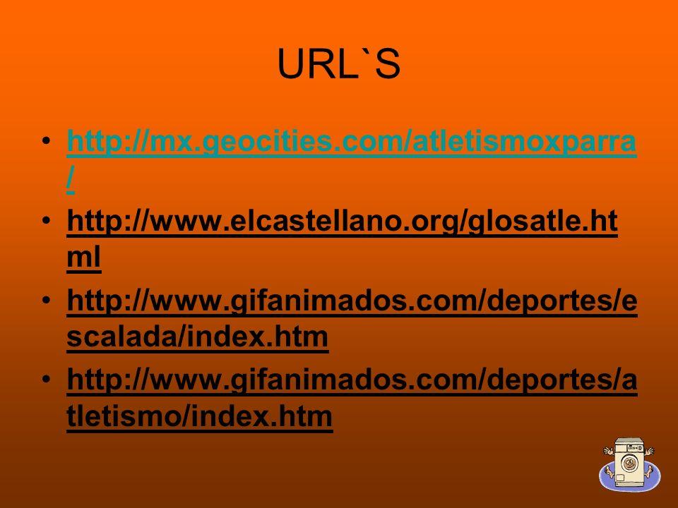URL`S http://mx.geocities.com/atletismoxparra /http://mx.geocities.com/atletismoxparra / http://www.elcastellano.org/glosatle.ht ml http://www.gifanimados.com/deportes/e scalada/index.htm http://www.gifanimados.com/deportes/a tletismo/index.htm