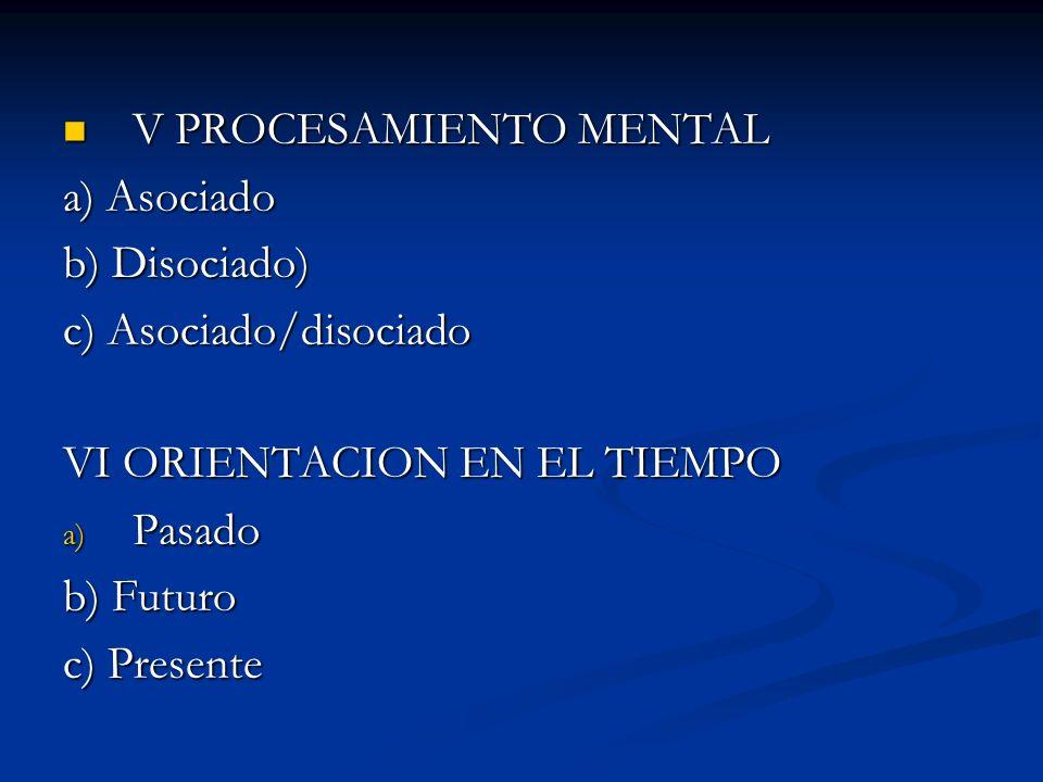 III FLUJO DE EVENTOS MENTALES a) Igualar b) Diferenciar IV ENFOQUE DEL PENSAMIENTO a) General/ Global b) Específico/Detalles