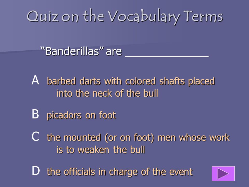 Quiz on the Vocabulary Terms Gradas are ____________ experienced Horse-mounted Bullfighters A experienced Horse-mounted Bullfighters the least expensi