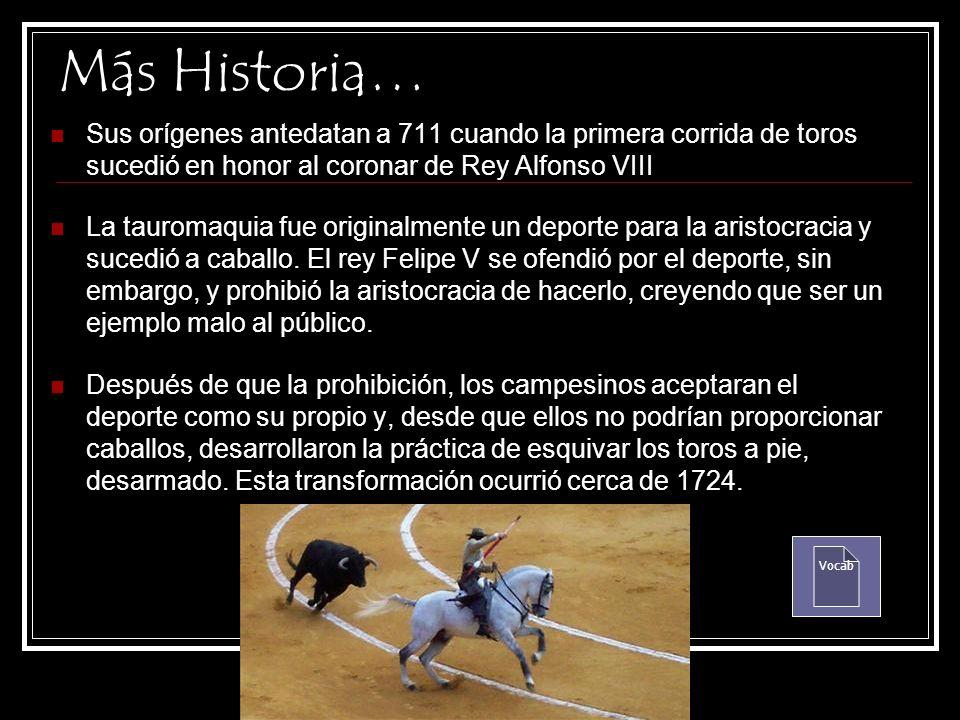 La Historia La corrida de toros es un espectáculo que consiste en lidiar varios toros bravos, a pie o a caballo, en un recinto cerrado a tal fin gener