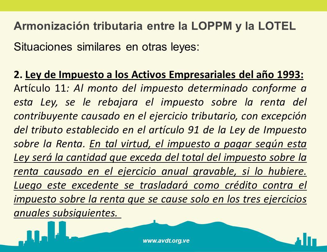 www.avdt.org.ve Armonización tributaria entre la LOPPM y la LOTEL Situaciones similares en otras leyes: 2. Ley de Impuesto a los Activos Empresariales