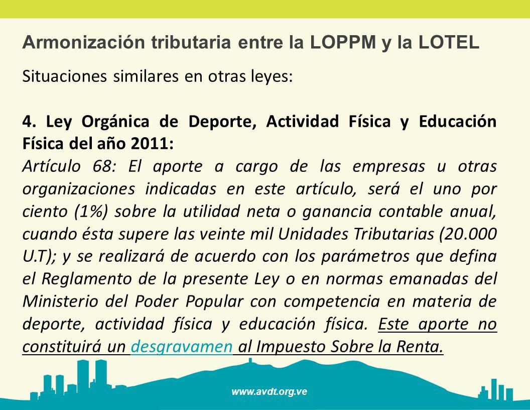 www.avdt.org.ve Armonización tributaria entre la LOPPM y la LOTEL Situaciones similares en otras leyes: 4. Ley Orgánica de Deporte, Actividad Física y