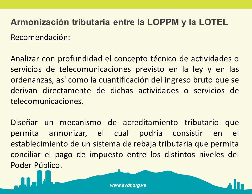 www.avdt.org.ve Armonización tributaria entre la LOPPM y la LOTEL Recomendación: Analizar con profundidad el concepto técnico de actividades o servici