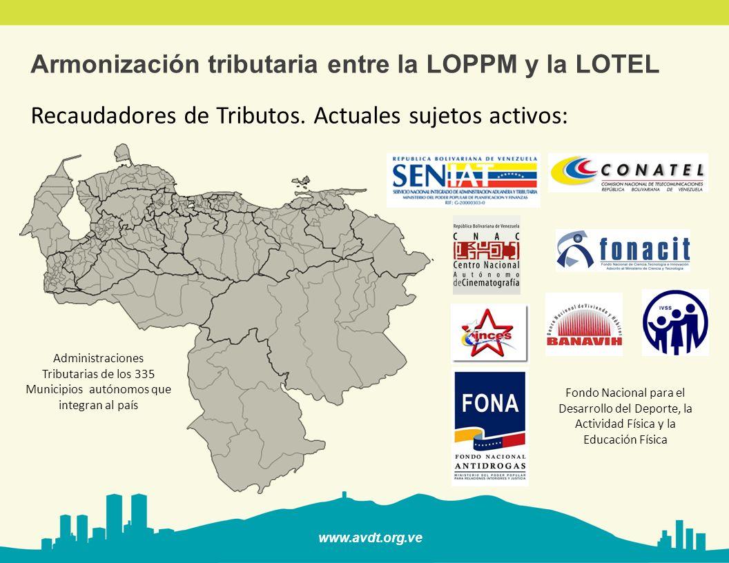www.avdt.org.ve Armonización tributaria entre la LOPPM y la LOTEL Recaudadores de Tributos. Actuales sujetos activos: Fondo Nacional para el Desarroll