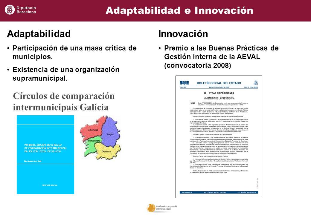 Adaptabilidad e Innovación Círculos de comparación intermunicipais Galicia Adaptabilidad Participación de una masa crítica de municipios. Existencia d