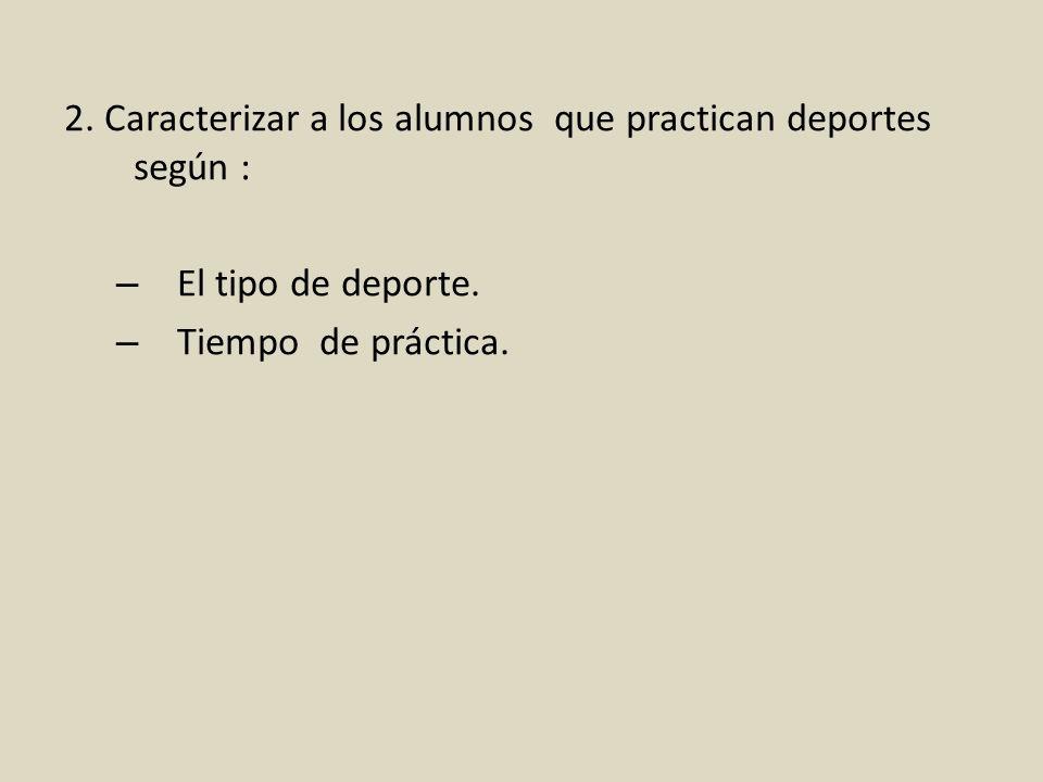 2. Caracterizar a los alumnos que practican deportes según : – El tipo de deporte. – Tiempo de práctica.