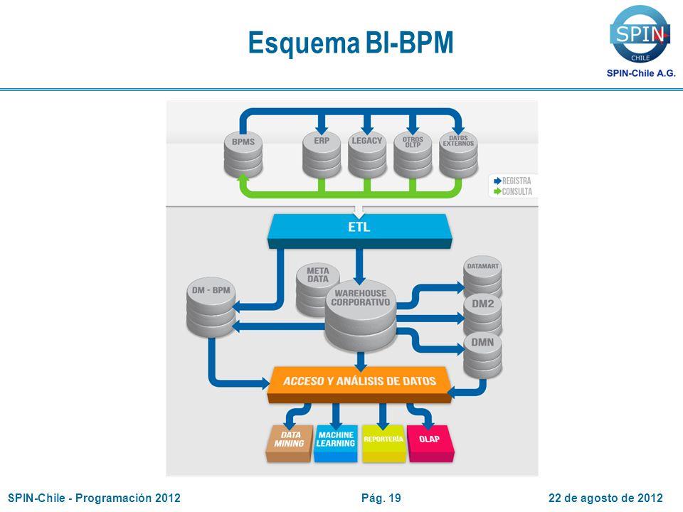 Esquema BI-BPM 22 de agosto de 2012SPIN-Chile - Programación 2012Pág. 19
