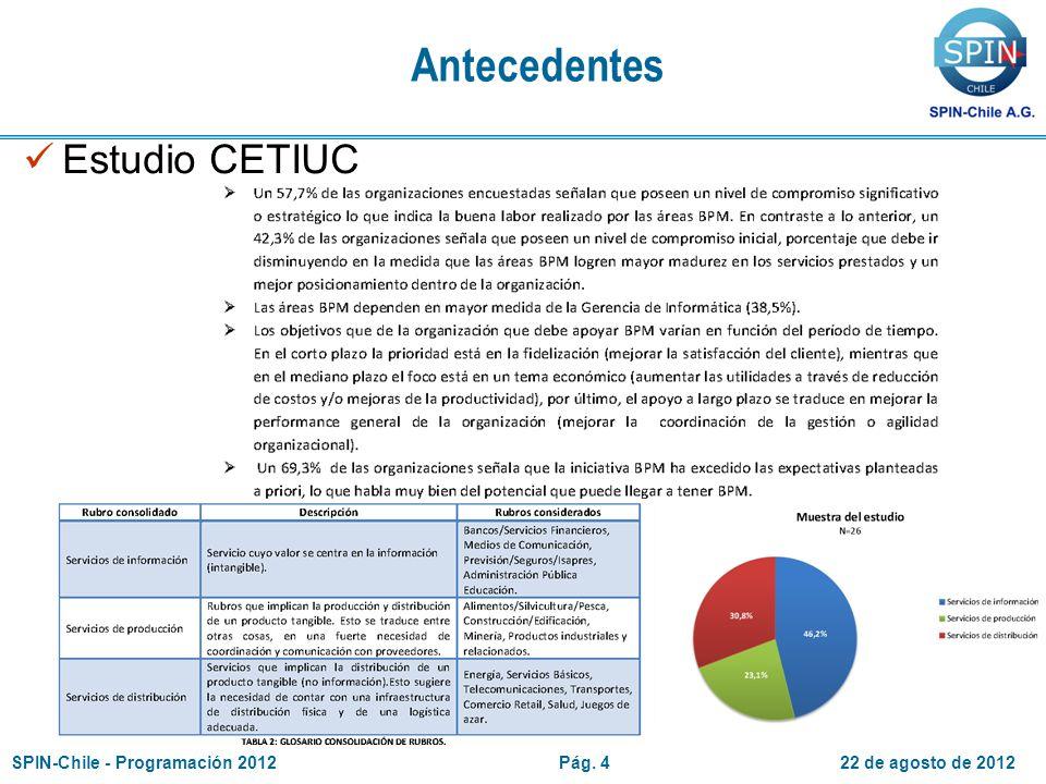 22 de agosto de 2012SPIN-Chile - Programación 2012Pág. 4 Antecedentes Estudio CETIUC
