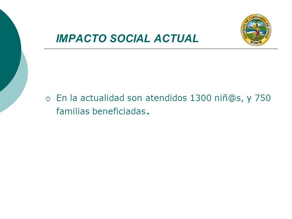 IMPACTO SOCIAL ACTUAL En la actualidad son atendidos 1300 niñ@s, y 750 familias beneficiadas.