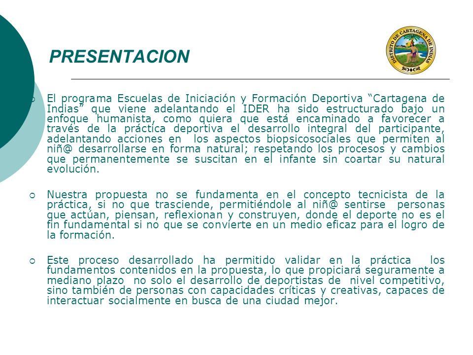 PRESENTACION El programa Escuelas de Iniciación y Formación Deportiva Cartagena de Indias que viene adelantando el IDER ha sido estructurado bajo un e