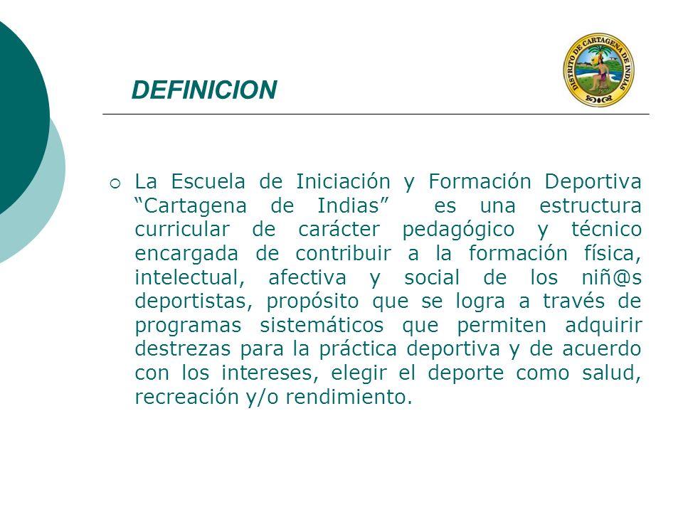 DEFINICION La Escuela de Iniciación y Formación Deportiva Cartagena de Indias es una estructura curricular de carácter pedagógico y técnico encargada