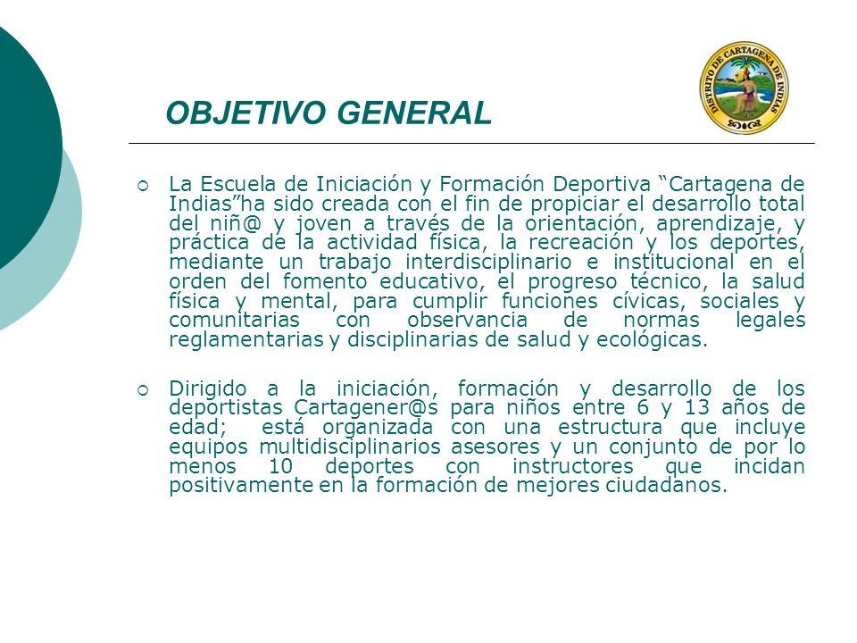 OBJETIVO GENERAL La Escuela de Iniciación y Formación Deportiva Cartagena de Indiasha sido creada con el fin de propiciar el desarrollo total del niñ@