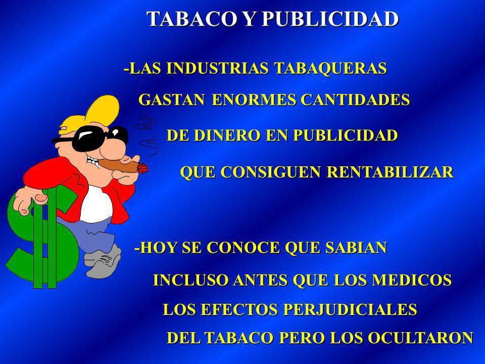 TABACO Y PUBLICIDAD -LAS INDUSTRIAS TABAQUERAS GASTAN ENORMES CANTIDADES DE DINERO EN PUBLICIDAD QUE CONSIGUEN RENTABILIZAR -HOY SE CONOCE QUE SABIAN INCLUSO ANTES QUE LOS MEDICOS LOS EFECTOS PERJUDICIALES DEL TABACO PERO LOS OCULTARON