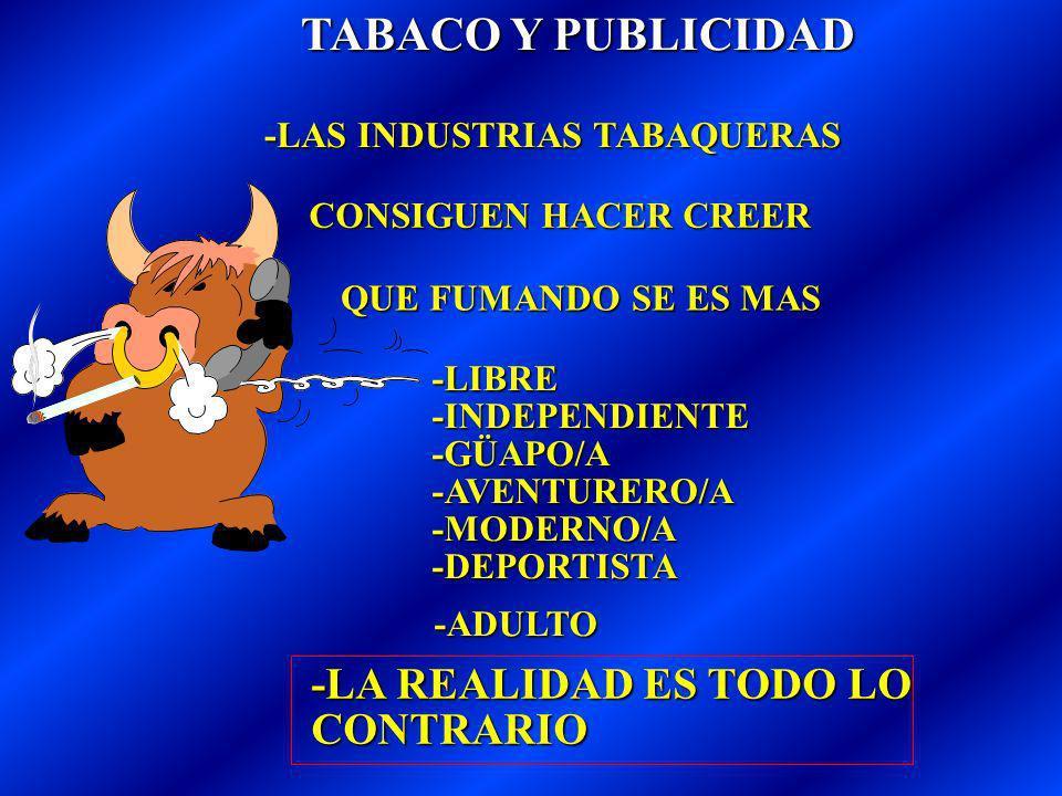 TABACO Y PUBLICIDAD -LAS INDUSTRIAS TABAQUERAS CONSIGUEN HACER CREER QUE FUMANDO SE ES MAS -LIBRE -INDEPENDIENTE -GÜAPO/A -AVENTURERO/A -MODERNO/A -DEPORTISTA -LA REALIDAD ES TODO LO CONTRARIO -ADULTO