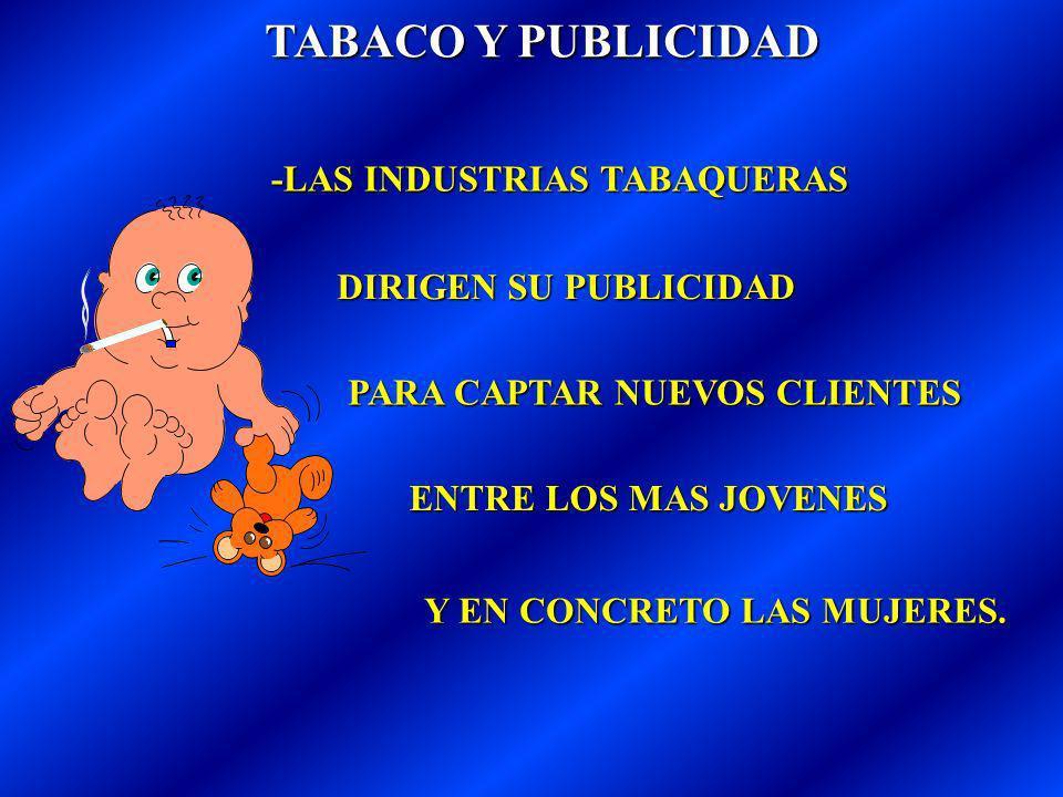 TABACO Y PUBLICIDAD -LAS INDUSTRIAS TABAQUERAS DIRIGEN SU PUBLICIDAD PARA CAPTAR NUEVOS CLIENTES Y EN CONCRETO LAS MUJERES.