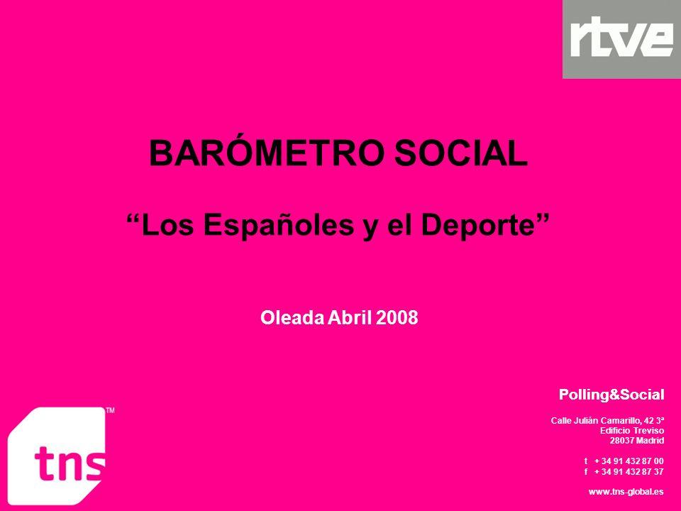 Calle Julián Camarillo, 42 3ª Edificio Treviso 28037 Madrid t + 34 91 432 87 00 f + 34 91 432 87 37 www.tns-global.es Polling&Social Oleada Abril 2008