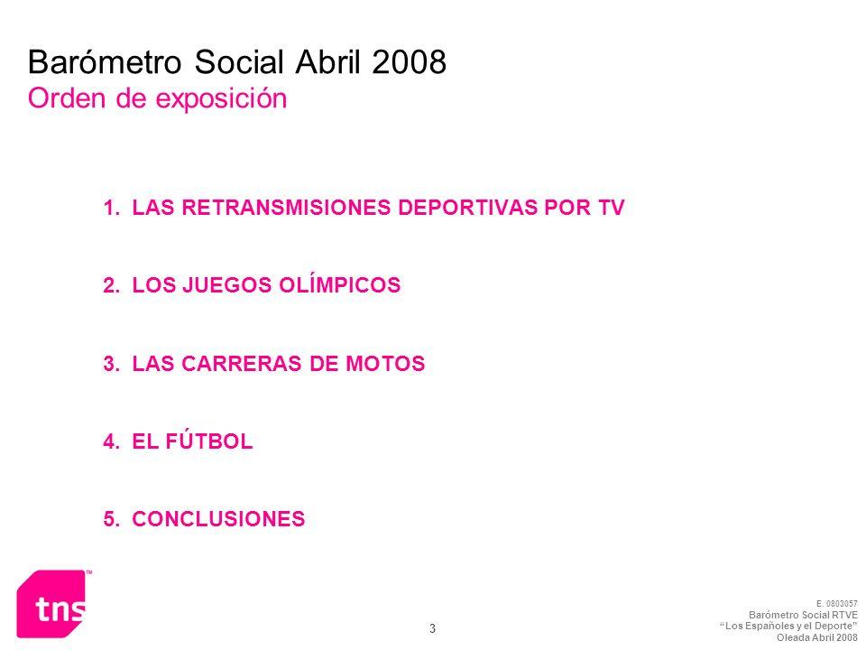 E. 0803057 Barómetro Social RTVE Los Españoles y el Deporte Oleada Abril 2008 3 Barómetro Social Abril 2008 Orden de exposición 1.LAS RETRANSMISIONES