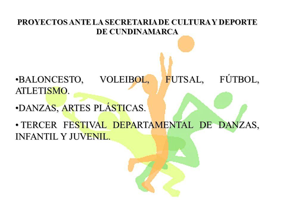 PROYECTOS APOYADOS ECONOMICAMENTE POR LA SECRETARIA DE CULTURA Y DEPORTE DE CUNDINAMARCA DEPORTES DEPORTES ($5.000.000) ESCUELAS FORMACION BALONCESTO Y VOLEIBOLL ($5.000.000) ESCUELAS FORMACION BALONCESTO Y VOLEIBOLL CULTURA CULTURA ($6.400.000) ESCUELAS DE FORMACION EN ARTISTICA EN LAS DISCIPLINAS DE ARTES PLASTICAS Y DANZAS.