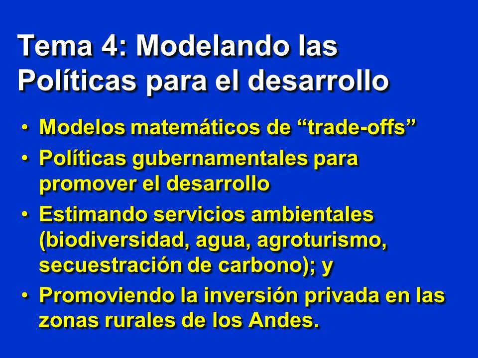 Tema 4: Modelando las Políticas para el desarrollo Modelos matemáticos de trade-offsModelos matemáticos de trade-offs Políticas gubernamentales para p