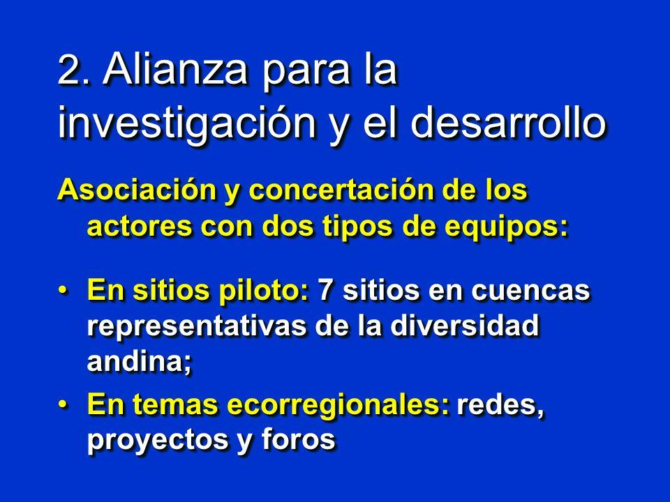 2. Alianza para la investigación y el desarrollo Asociación y concertación de los actores con dos tipos de equipos: En sitios piloto: 7 sitios en cuen