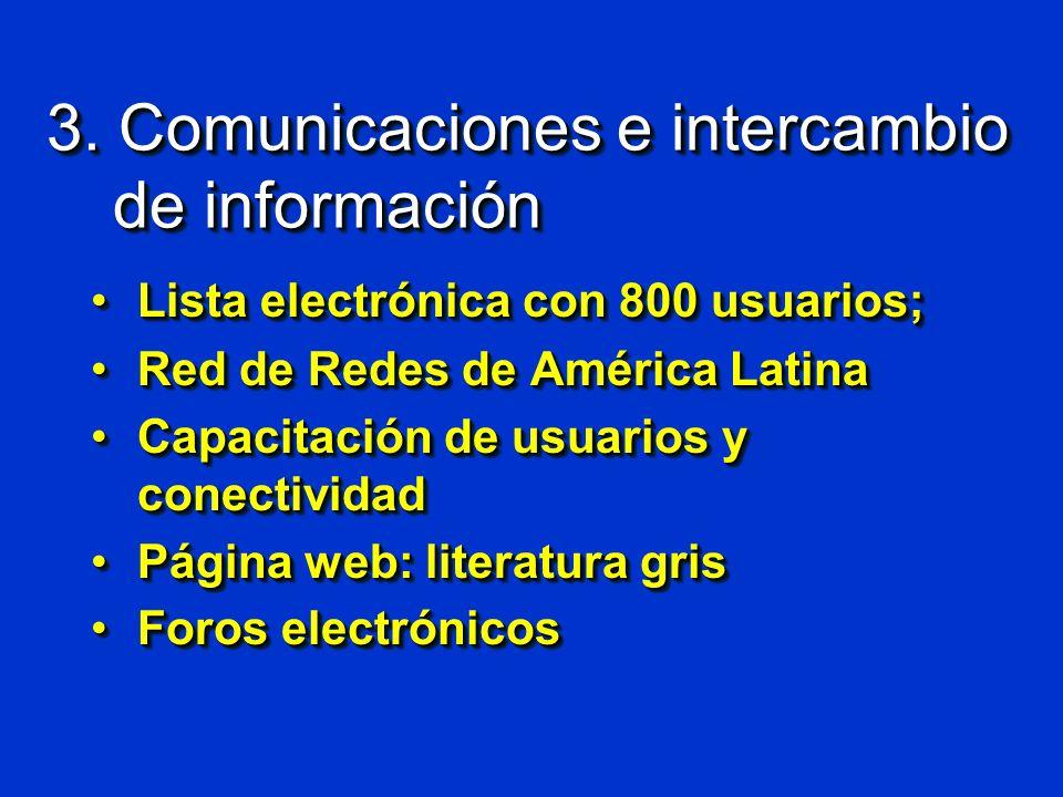3. Comunicaciones e intercambio de información Lista electrónica con 800 usuarios;Lista electrónica con 800 usuarios; Red de Redes de América LatinaRe