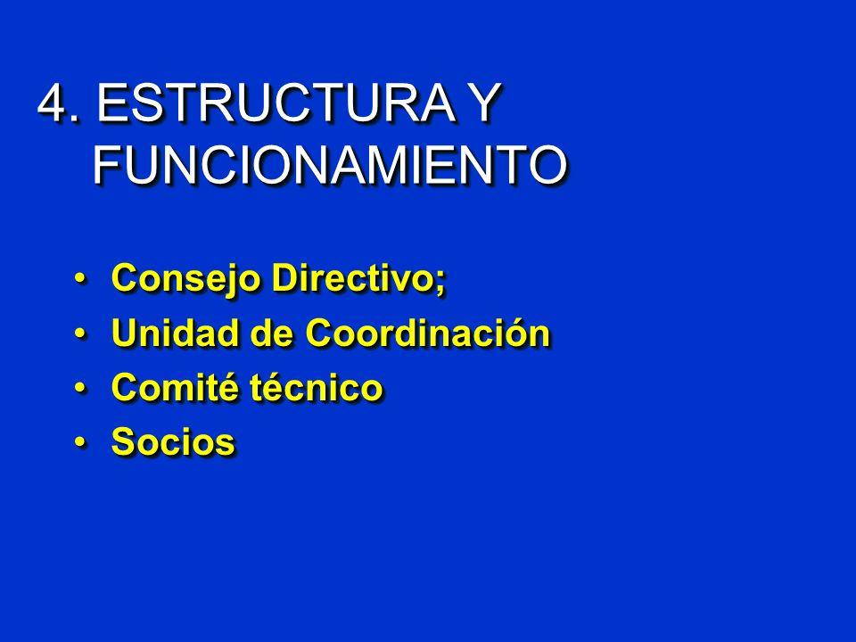 4. ESTRUCTURA Y FUNCIONAMIENTO Consejo Directivo;Consejo Directivo; Unidad de CoordinaciónUnidad de Coordinación Comité técnicoComité técnico SociosSo