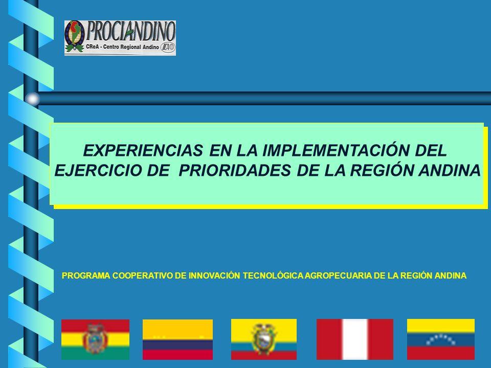 EXPERIENCIAS EN LA IMPLEMENTACIÓN DEL EJERCICIO DE PRIORIDADES DE LA REGIÓN ANDINA PROGRAMA COOPERATIVO DE INNOVACIÓN TECNOLÓGICA AGROPECUARIA DE LA R