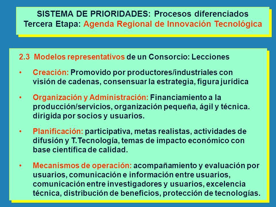 2.3 Modelos representativos de un Consorcio: Lecciones Creación: Promovido por productores/industriales con visión de cadenas, consensuar la estrategi