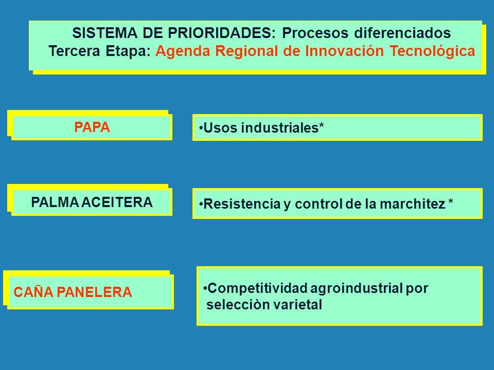 PALMA ACEITERA Resistencia y control de la marchitez * SISTEMA DE PRIORIDADES: Procesos diferenciados Tercera Etapa: Agenda Regional de Innovación Tec
