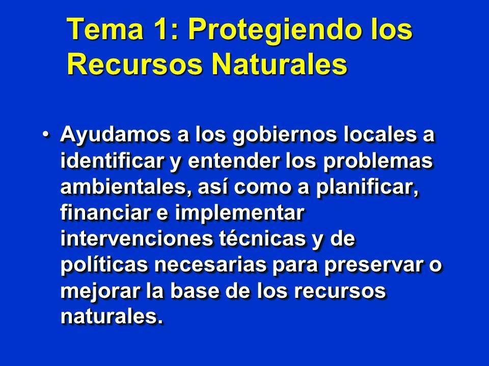 Tema 1: Protegiendo los Recursos Naturales Ayudamos a los gobiernos locales a identificar y entender los problemas ambientales, así como a planificar,