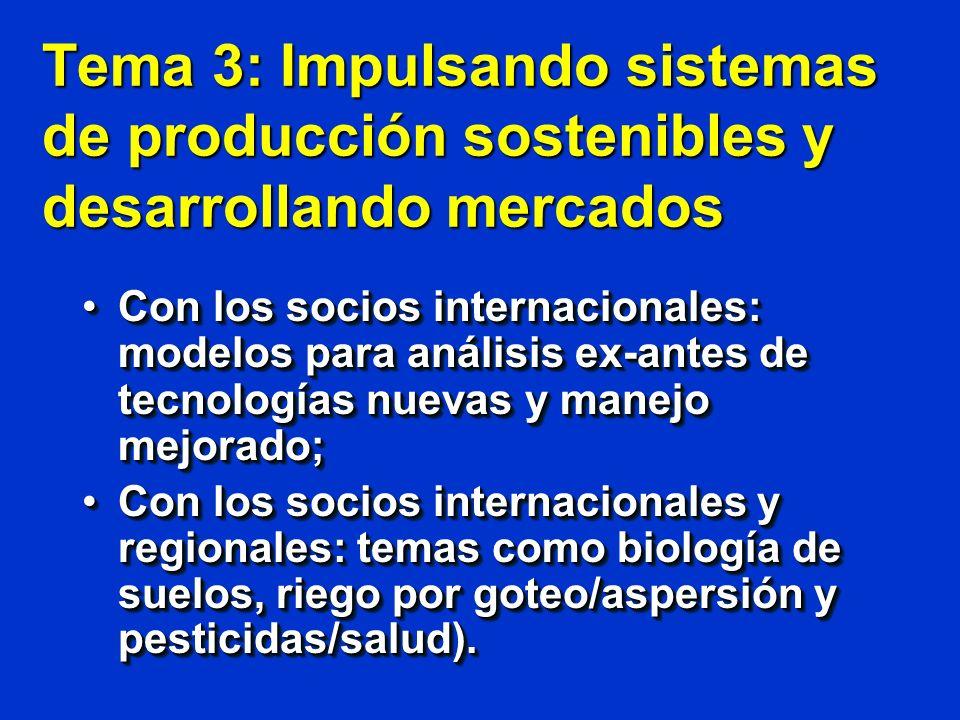 Tema 4: Modelando las Políticas para el desarrollo Modelos matemáticos de trade-offsModelos matemáticos de trade-offs Políticas gubernamentales para promover el desarrolloPolíticas gubernamentales para promover el desarrollo Estimando servicios ambientales (biodiversidad, agua, agroturismo, secuestración de carbono); yEstimando servicios ambientales (biodiversidad, agua, agroturismo, secuestración de carbono); y Promoviendo la inversión privada en las zonas rurales de los Andes.Promoviendo la inversión privada en las zonas rurales de los Andes.