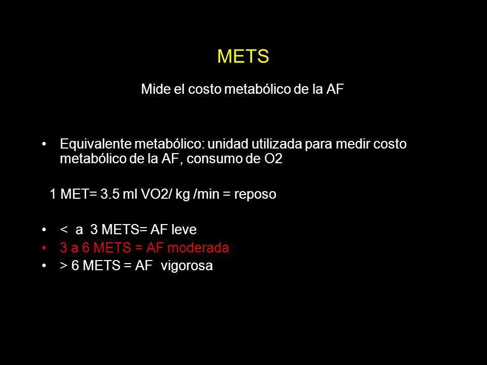 METS Mide el costo metabólico de la AF Equivalente metabólico: unidad utilizada para medir costo metabólico de la AF, consumo de O2 1 MET= 3.5 ml VO2/ kg /min = reposo < a 3 METS= AF leve 3 a 6 METS = AF moderada > 6 METS = AF vigorosa
