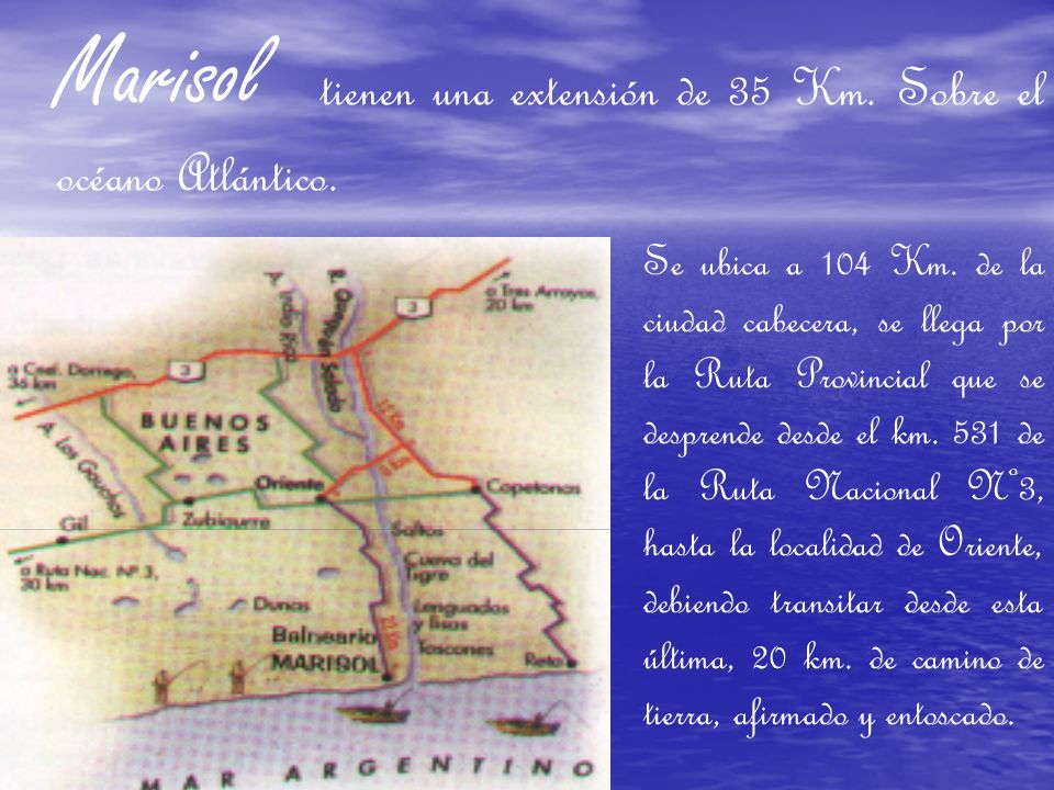 Marisol tienen una extensión de 35 Km.Sobre el océano Atlántico..