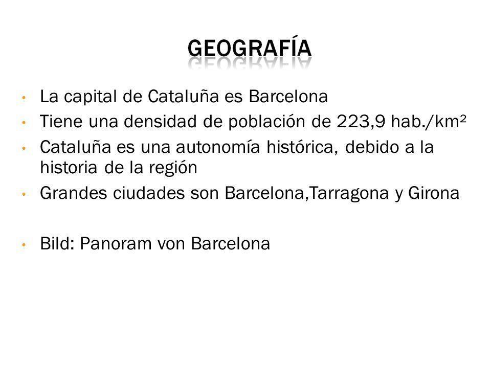 Cataluña es una communidad autónoma española Está situada al nordeste de la Península Ibérica Tiene una superficie de 32.000 km² (6,3% de España) limita al Norte con Francia y Andorra, al Este con el Mar Mediterráneo, al Oeste con Arágon y al Sur con la communidad Valenciana Bild 1: Wappen von Cataluña Bild 2: Flagge von Cataluña