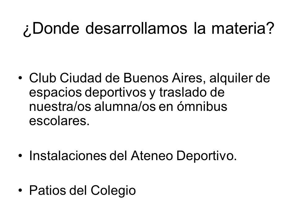 ¿Donde desarrollamos la materia? Club Ciudad de Buenos Aires, alquiler de espacios deportivos y traslado de nuestra/os alumna/os en ómnibus escolares.