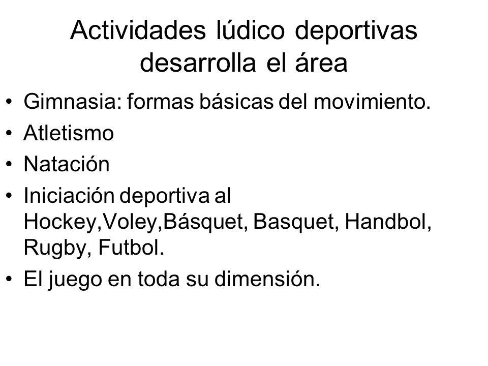 Actividades lúdico deportivas desarrolla el área Gimnasia: formas básicas del movimiento. Atletismo Natación Iniciación deportiva al Hockey,Voley,Básq
