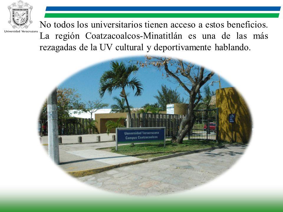 No todos los universitarios tienen acceso a estos beneficios. La región Coatzacoalcos-Minatitlán es una de las más rezagadas de la UV cultural y depor