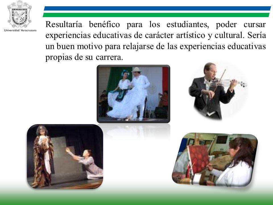 Resultaría benéfico para los estudiantes, poder cursar experiencias educativas de carácter artístico y cultural. Sería un buen motivo para relajarse d