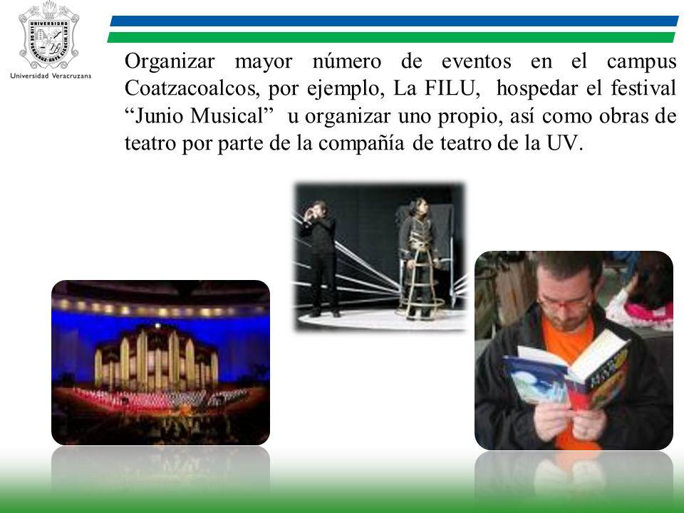 Organizar mayor número de eventos en el campus Coatzacoalcos, por ejemplo, La FILU, hospedar el festival Junio Musical u organizar uno propio, así com