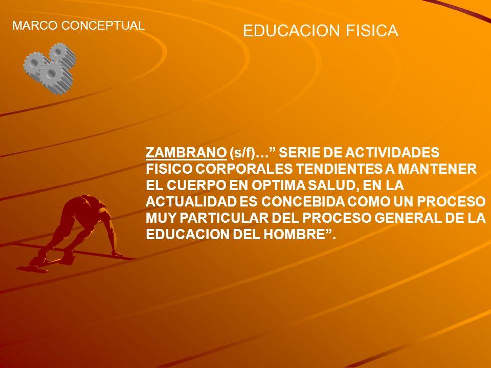 EDUCACION FISICA MARCO CONCEPTUAL ZAMBRANO (s/f)… SERIE DE ACTIVIDADES FISICO CORPORALES TENDIENTES A MANTENER EL CUERPO EN OPTIMA SALUD, EN LA ACTUAL