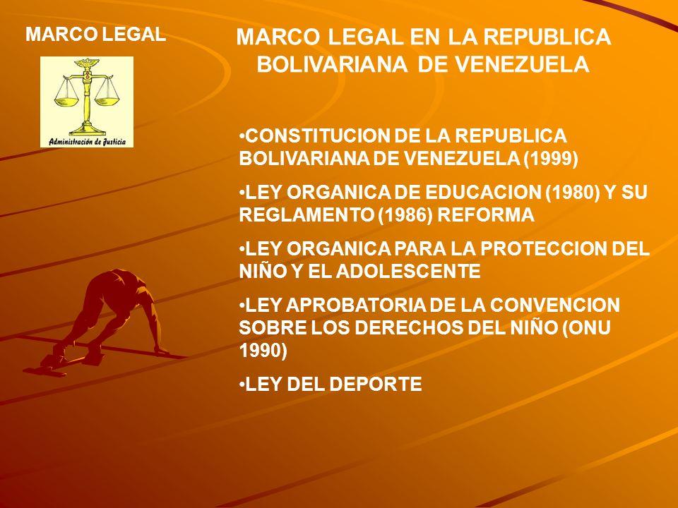 MARCO LEGAL EN LA REPUBLICA BOLIVARIANA DE VENEZUELA CONSTITUCION DE LA REPUBLICA BOLIVARIANA DE VENEZUELA (1999) LEY ORGANICA DE EDUCACION (1980) Y S