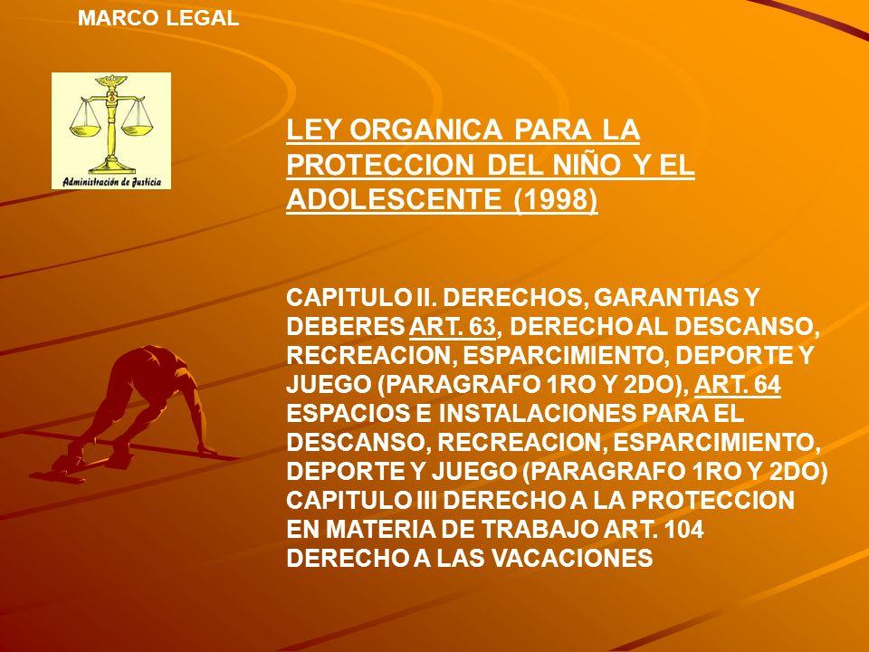 MARCO LEGAL LEY ORGANICA PARA LA PROTECCION DEL NIÑO Y EL ADOLESCENTE (1998) CAPITULO II. DERECHOS, GARANTIAS Y DEBERES ART. 63, DERECHO AL DESCANSO,