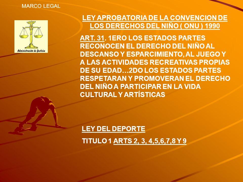 MARCO LEGAL LEY APROBATORIA DE LA CONVENCION DE LOS DERECHOS DEL NIÑO ( ONU ) 1990 ART. 31. 1ERO LOS ESTADOS PARTES RECONOCEN EL DERECHO DEL NIÑO AL D