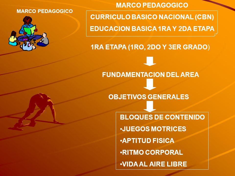 MARCO PEDAGOGICO CURRICULO BASICO NACIONAL (CBN) EDUCACION BASICA 1RA Y 2DA ETAPA 1RA ETAPA (1RO, 2DO Y 3ER GRADO) FUNDAMENTACION DEL AREA OBJETIVOS G